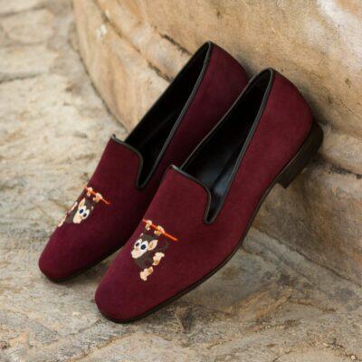 Custom Made Men's Drake Slippers in Wine Suede