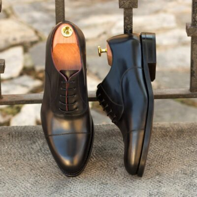 Custom Made Men's Goodyear Welt Oxford in Black Polished Calf Leather