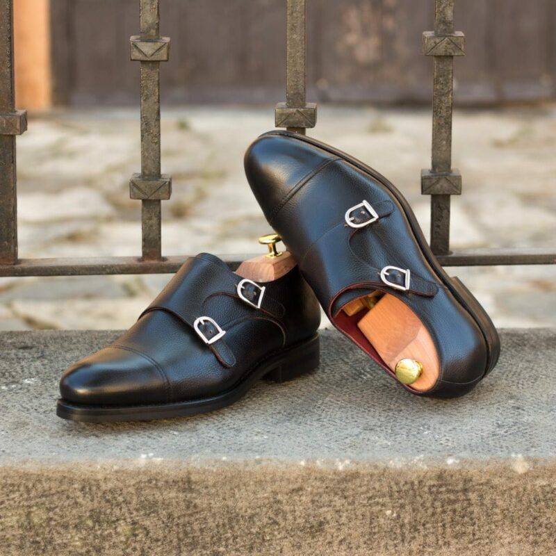 Custom Made Men's Goodyear Welted Double Monks in Black Painted Full Grain Leather