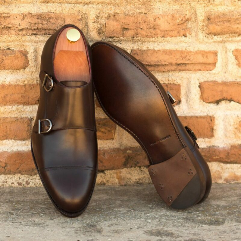 Custom Made Men's Goodyear Welted Double Monks in Dark Brown Polished Calf Leather