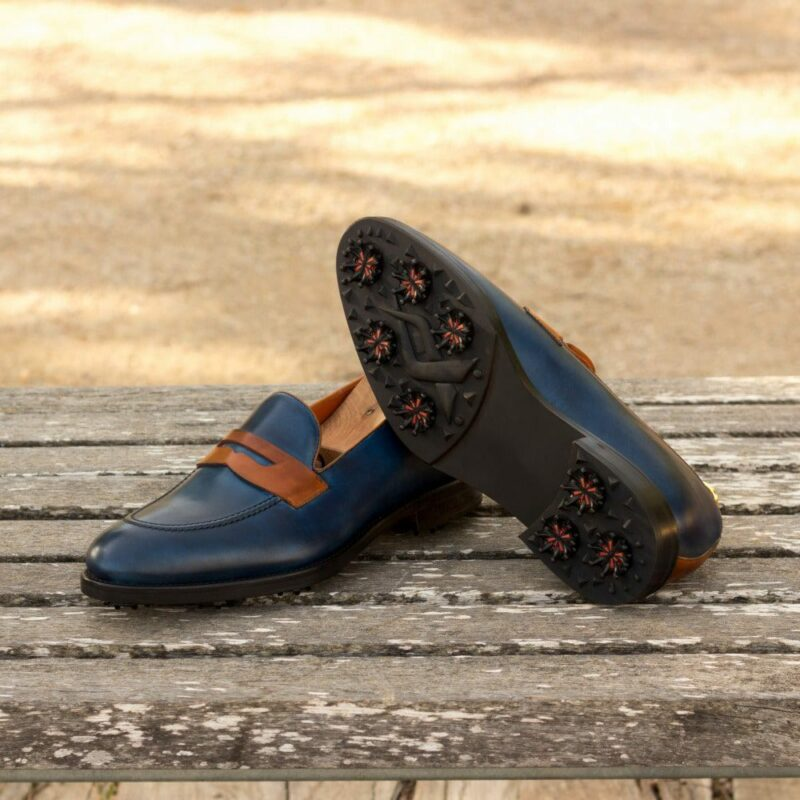 Custom Made Men's Loafer Golf Shoes in Navy Blue and Cognac Painted Calf Leather with Softspikes®