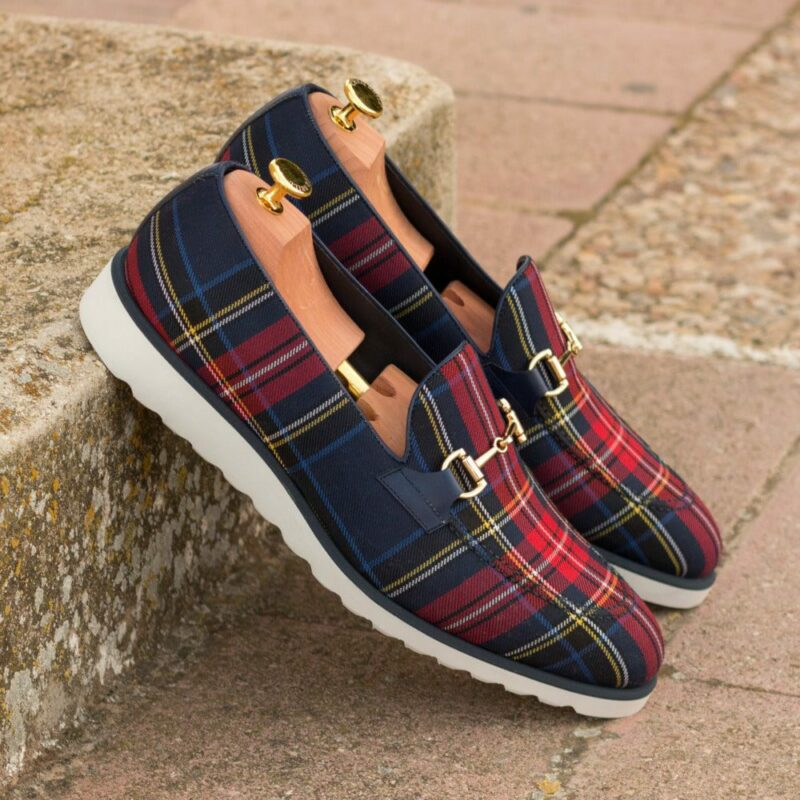 Custom Made Men's Loafers in Tartan and Navy Blue Box Calf Leather