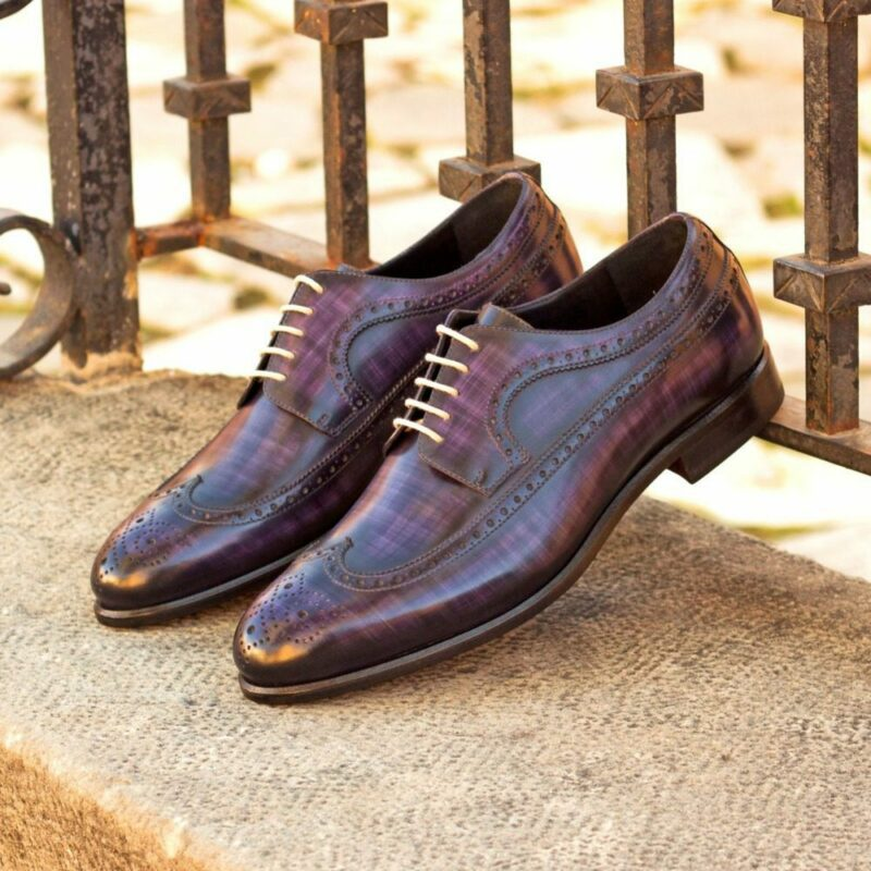 Custom Made Men's Longwing Blucher in Italian Calf Leather with a Purple Hand Patina