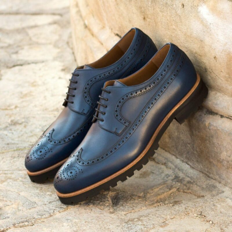 Custom Made Men's Longwing Blucher in Navy Blue Painted Calf Leather