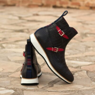 Custom Made Men's Octavian Boot in Black Croco with Tartan and Red Kid Suede