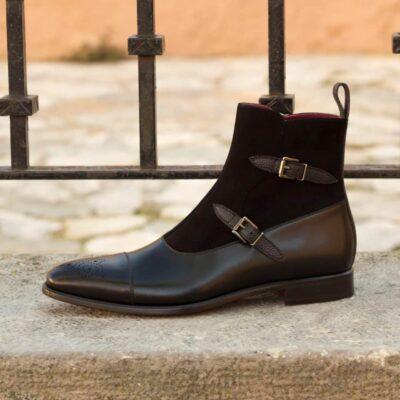 Custom Made Men's Octavian Boot in Black Painted Calf, Pebble Grain and Kid Suede
