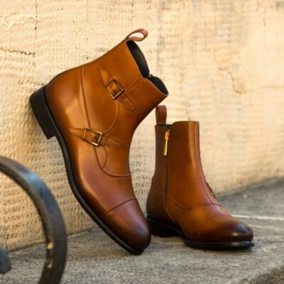 Custom Made Men's Octavian Boot in Burnished Cognac Painted Calf