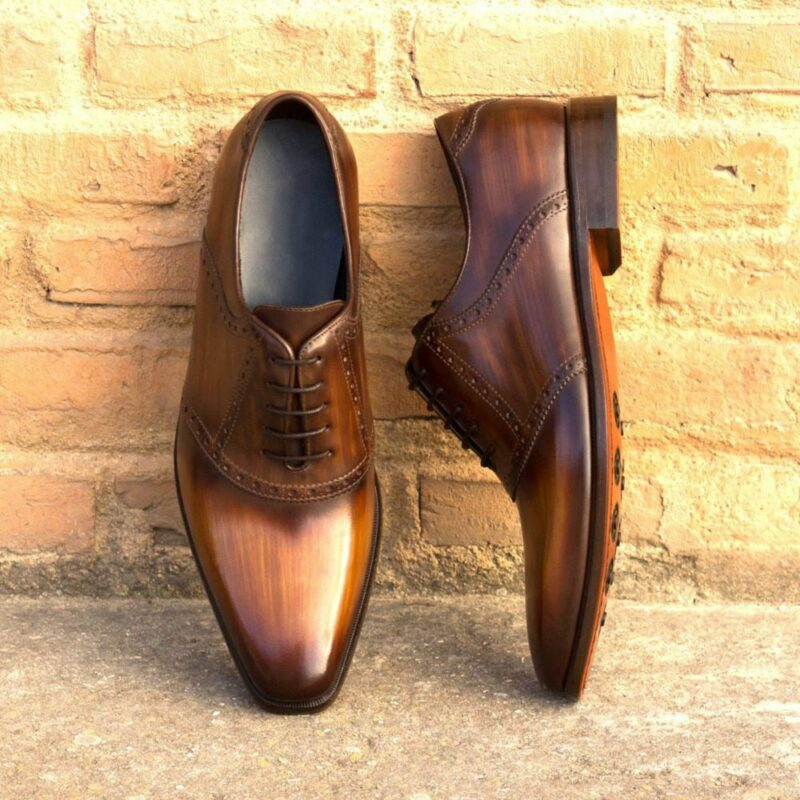 Custom Made Men's Saddle Shoe in Italian Calf Leather with Cognac and Brown Hand Patina