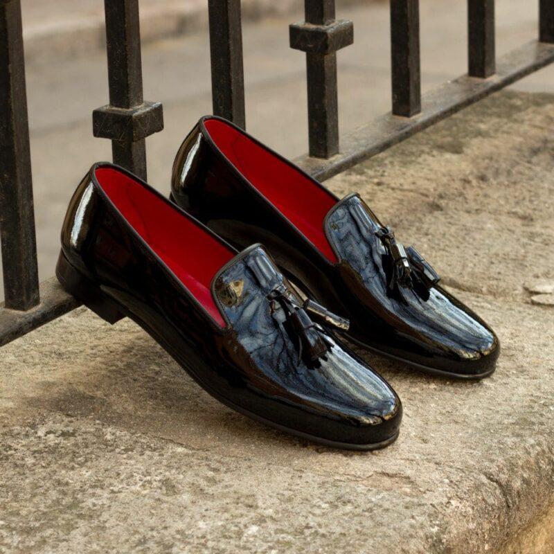 Custom Made Men's Wellington Slippers in Black Patent Leather
