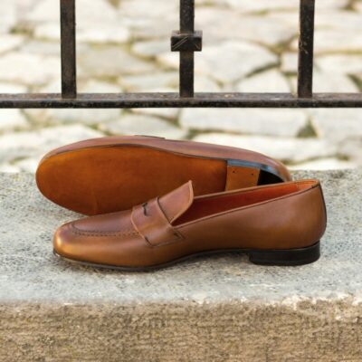 Custom Made Men's Wellington Slippers in Medium Brown Painted Calf Leather