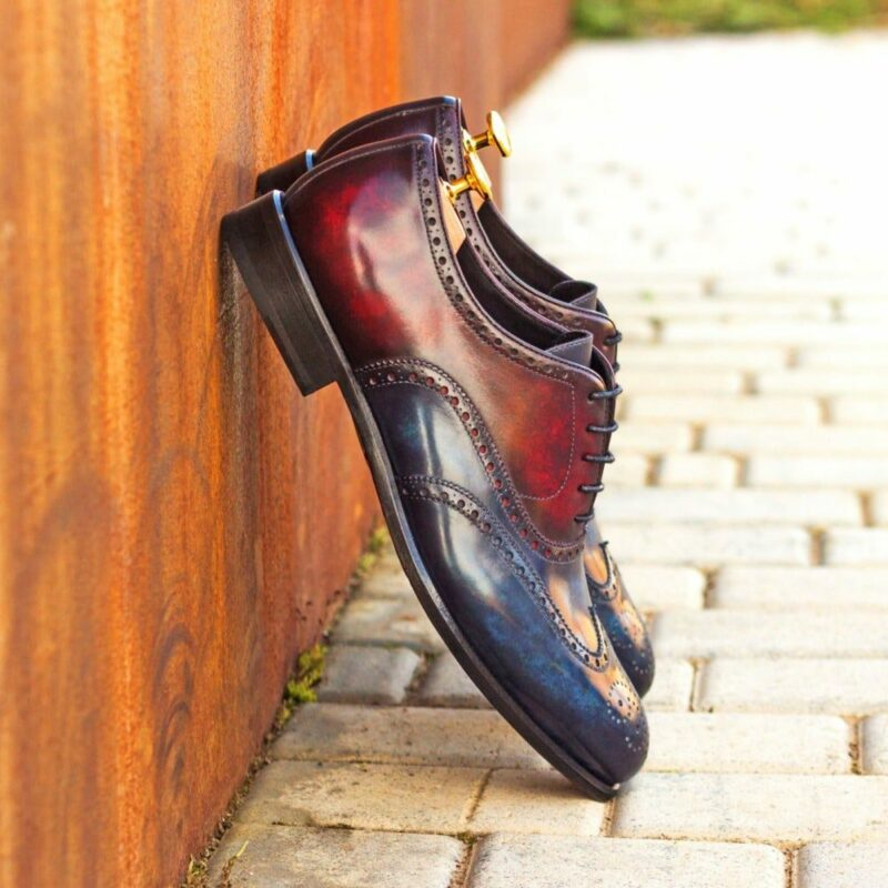 Custom Made Men's Wingtips in Italian Calf Leather with Burgundy and Denim Blue Hand Patina Finish