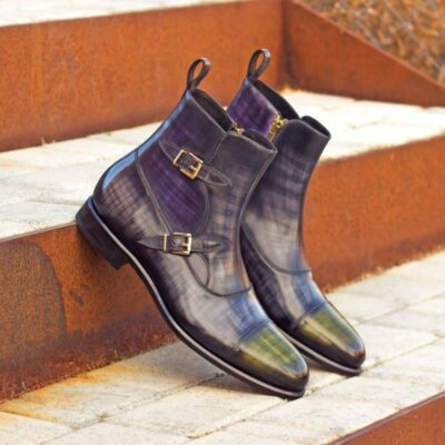 Custom Made Octavian Boot in Italian Raw Crust Leather with a Purple, Grey and Khaki Hand Patina Finish