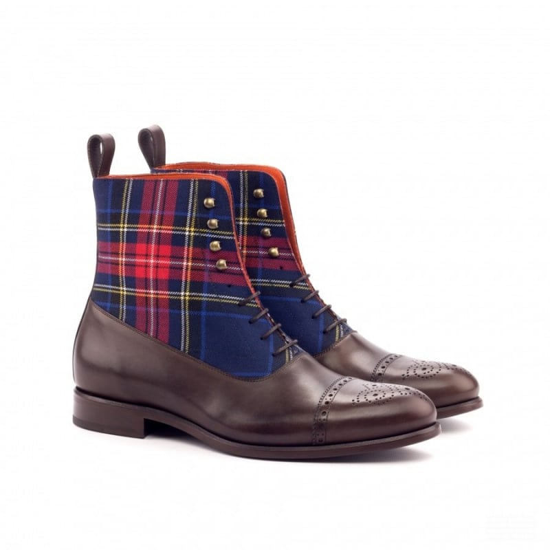 Custom Made Balmoral Boot in Dark Brown Painted Calf with Tartan and Burgundy Polished Calf
