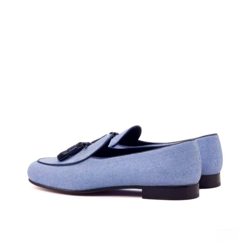 Custom Made Belgian Slippers in Blue Linen with Navy Blue Painted Calf Leather