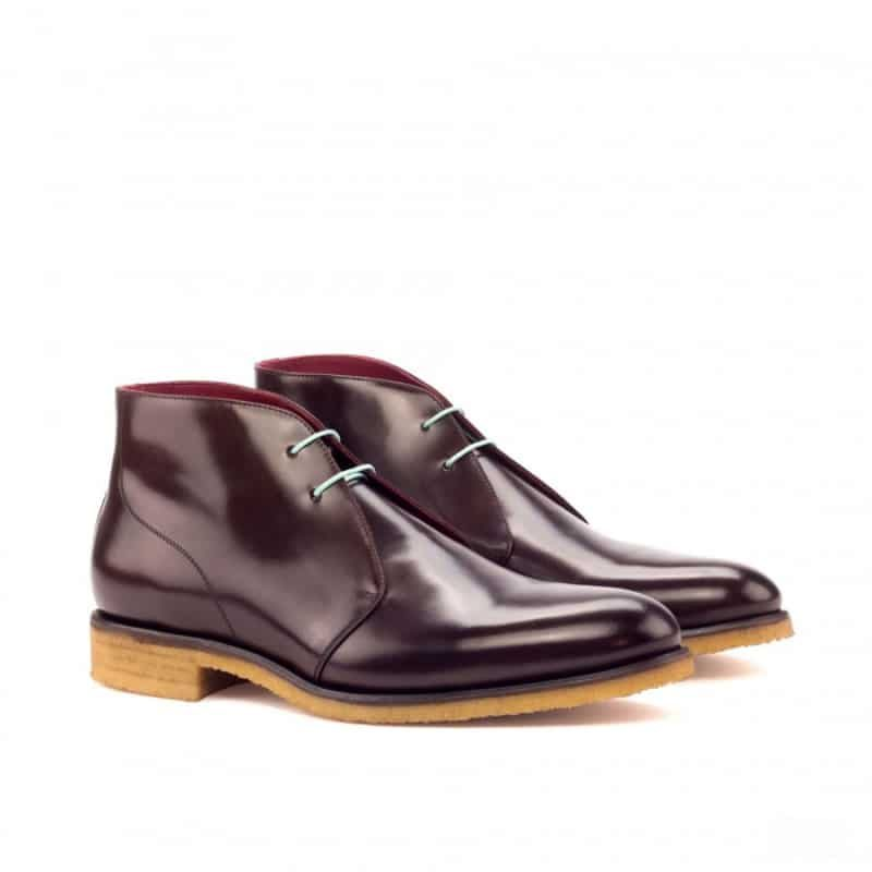 Custom Made Chukka Boot in Dark Brown Polished Calf Leather