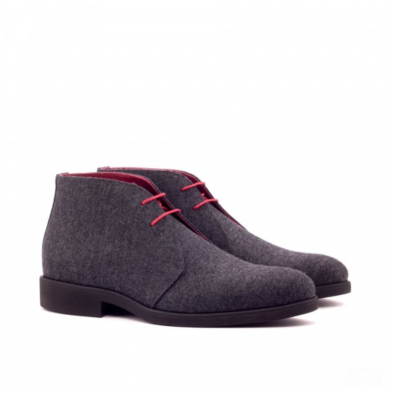 Custom Made Chukka Boot in Dark Grey Flannel