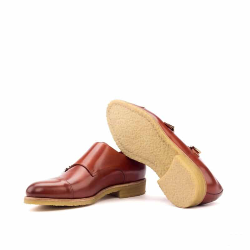 Custom Made Double Monks in Cognac Polished Calf Leather
