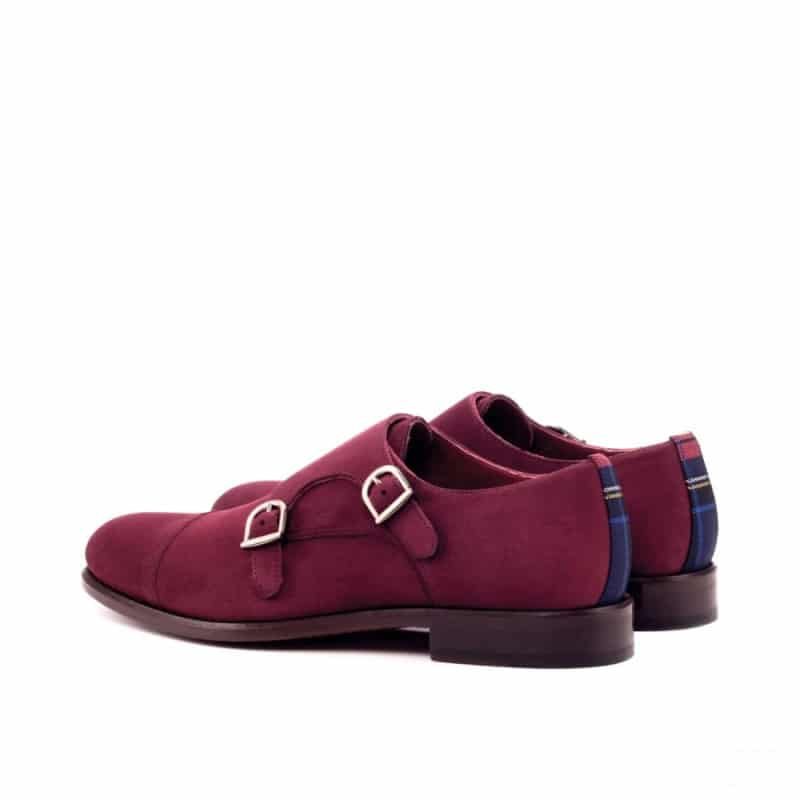 Custom Made Double Monks in Wine Kid Suede with Tartan