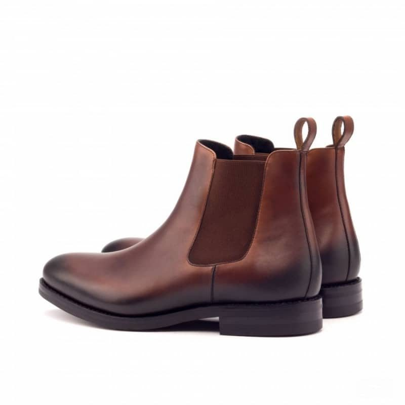 Custom Made Goodyear Welted Chelsea Boot Classic in Medium Brown Painted Calf Leather