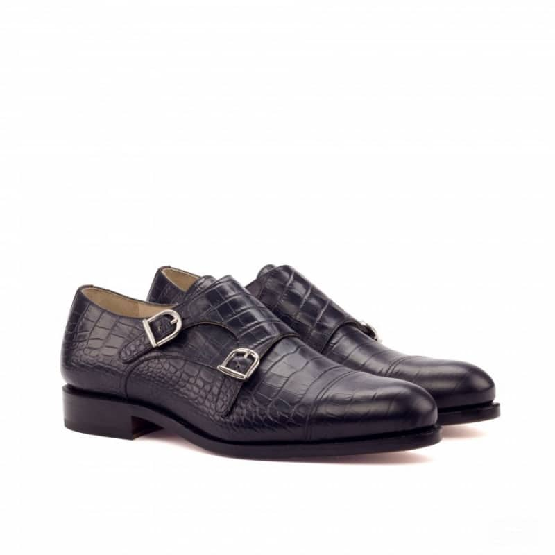 Custom Made Goodyear Welted Double Monks in Black Croco Embossed and Burgundy Polished Calf Leather