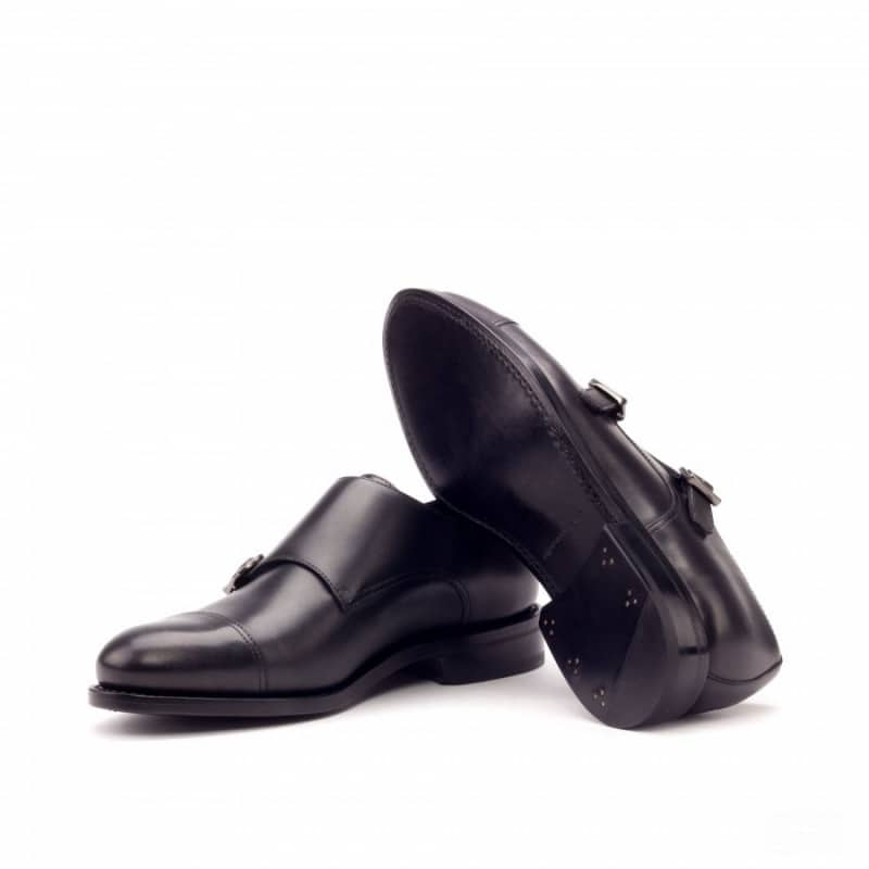 Custom Made Goodyear Welted Double Monks in Black Painted Calf Leather