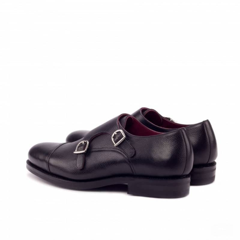 Custom Made Goodyear Welted Double Monks in Black Painted Full Grain Leather