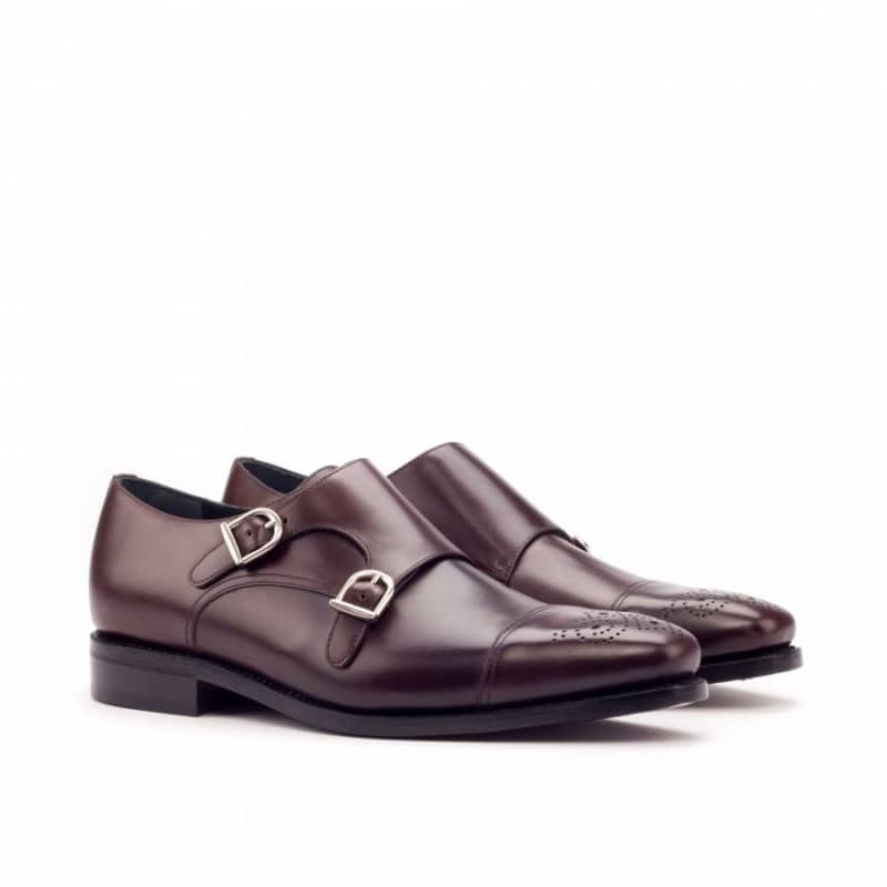 Custom Made Goodyear Welted Double Monks in Burgundy Polished Calf Leather