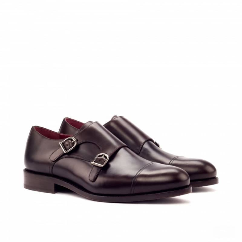 Custom Made Goodyear Welted Double Monks in Dark Brown Polished Calf Leather