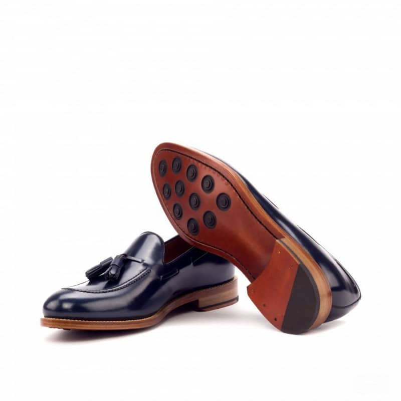 Custom Made Goodyear Welted Loafers in Navy Blue Polished Calf Leather