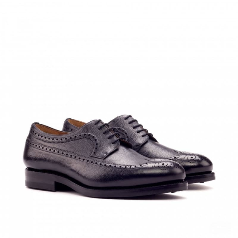 Custom Made Goodyear Welted Long Wingtip Blucher in Black Painted Full Grain Leather