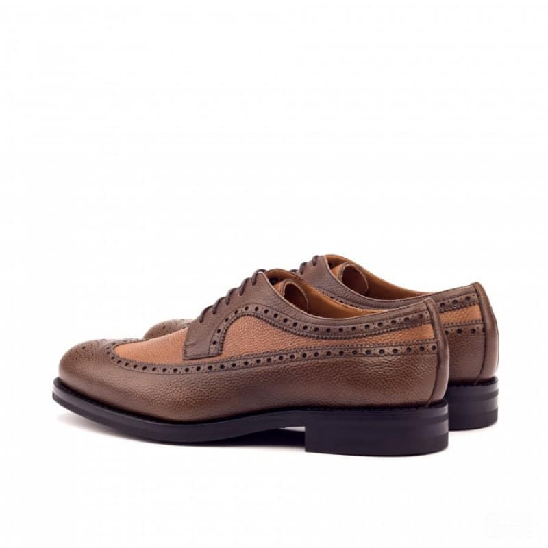 Custom Made Goodyear Welted Long Wingtip Blucher in Medium and Dark Brown Painted Full Grain Leather