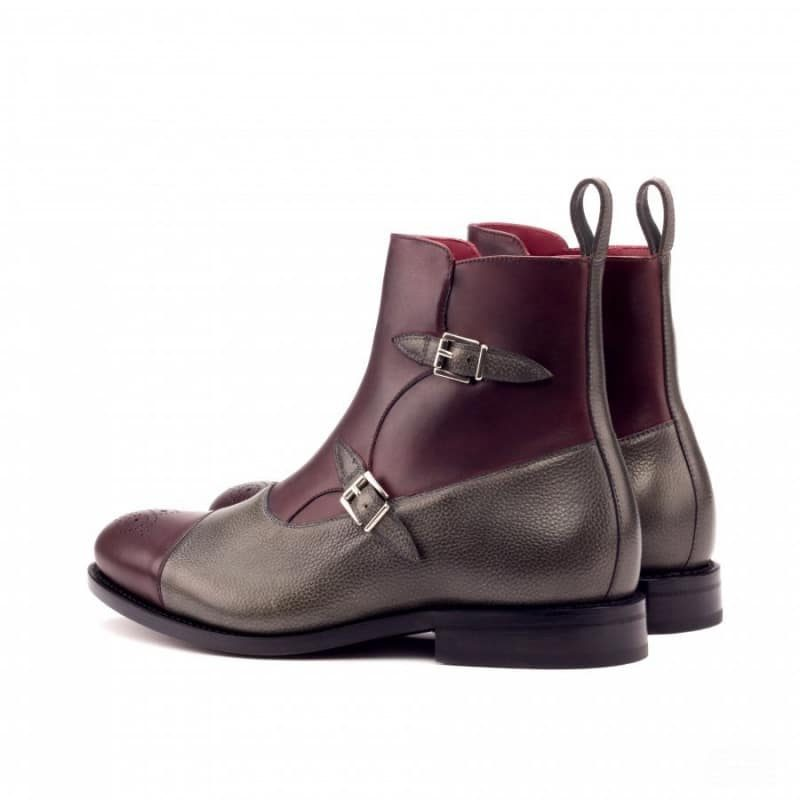 Custom Made Goodyear Welted Octavian Boot in Burgundy Painted Calf and Grey Painted Full Grain Leather