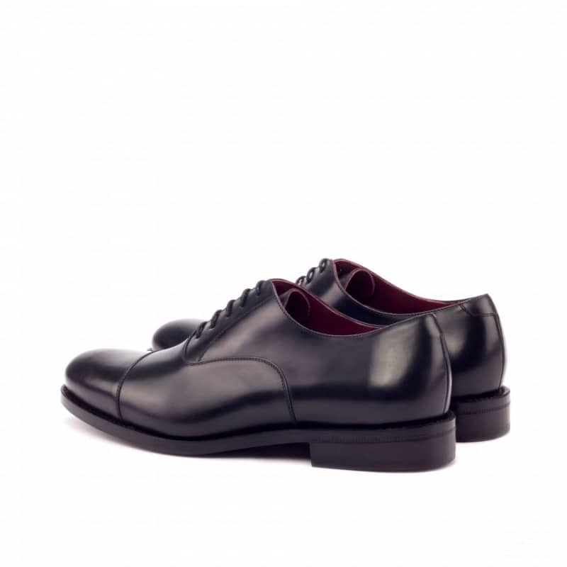 Custom Made Goodyear Welted Oxford in Black Polished Calf Leather