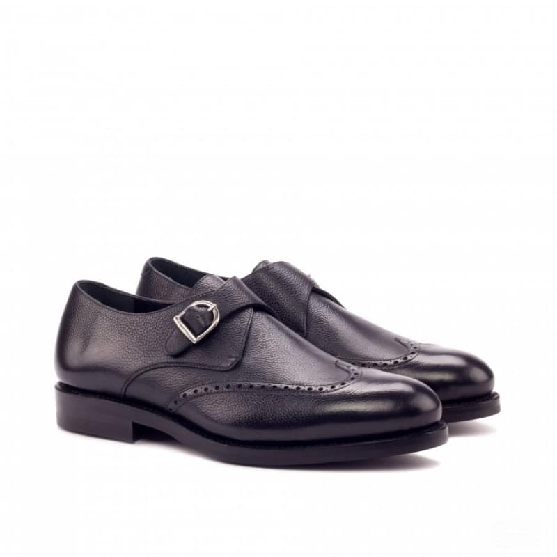 Custom Made Goodyear Welted Single Monks in Black Painted Full Grain Leather