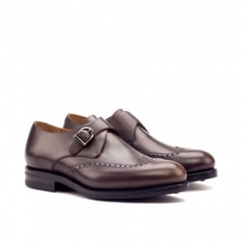 Custom Made Goodyear Welted Single Monks in Dark Brown Painted Calf Leather
