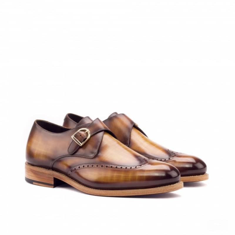 Custom Made Goodyear Welted Single Monks in Raw Crust Italian Calf Leather with a Cognac Hand Patina