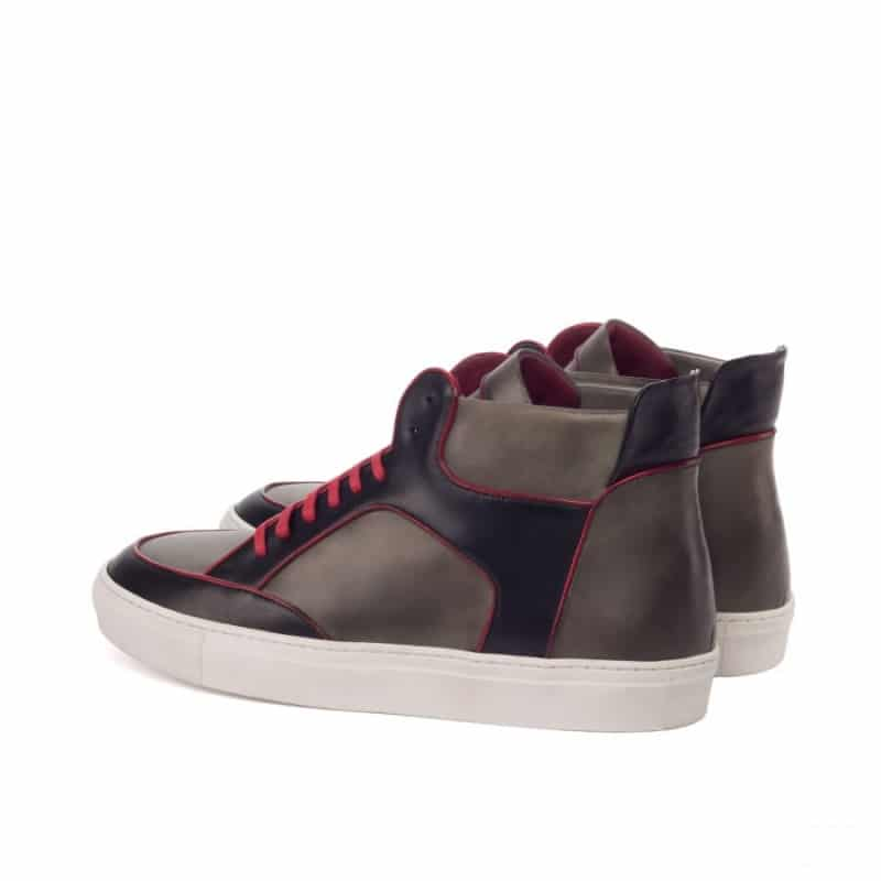 Custom Made High Top Multi in Red, Black and Grey Painted Calf Leather