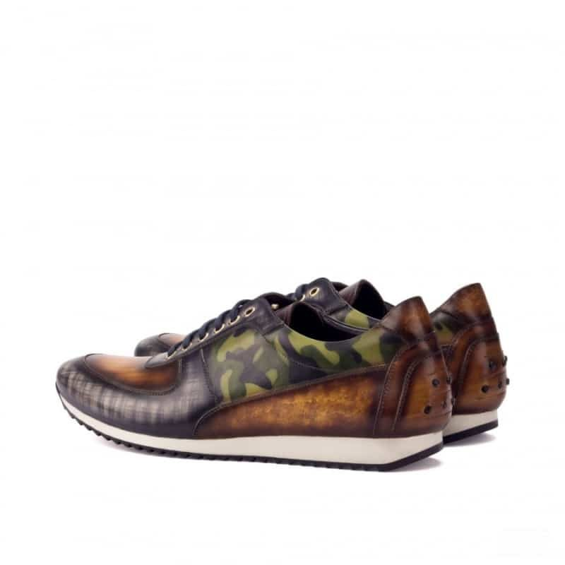 Custom Made Joggers in Italian Raw Crust Leather with a Khaki Camo, Grey and Cognac Hand Patina