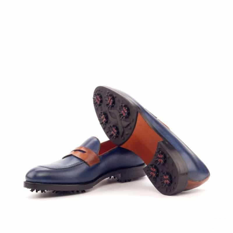 Custom Made Loafer Golf Shoes in Navy Blue and Cognac Painted Calf Leather with Softspikes®