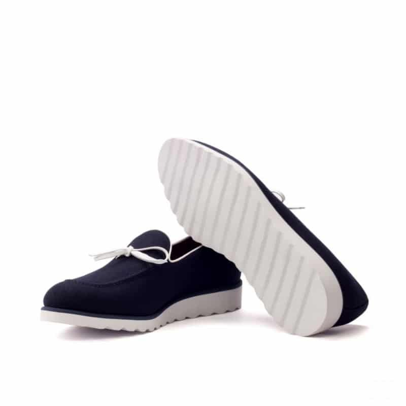 Custom Made Loafers in Navy Blue Flannel with White Box Calf Tassels and Sportwedge Sole