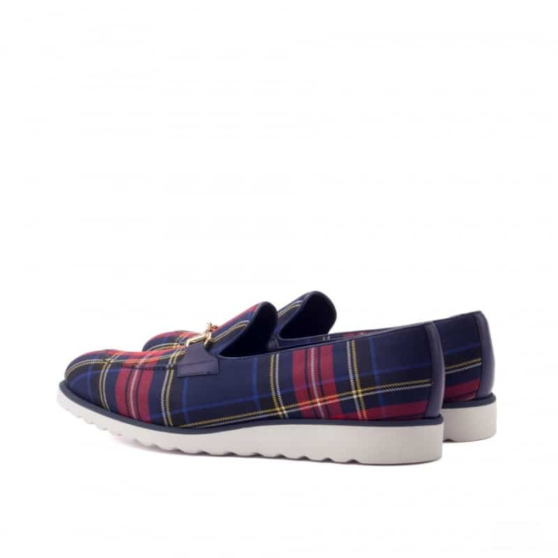 Custom Made Loafers in Tartan and Navy Blue Box Calf Leather