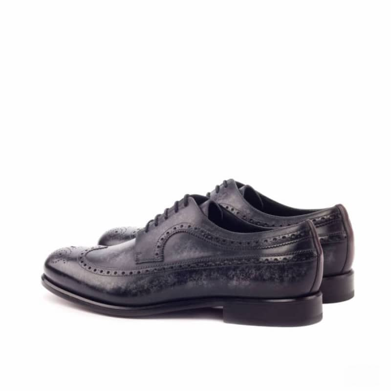 Custom Made Long Wingtip Blucher in Italian Raw Crust Leather with a Grey Hand Patina Finish