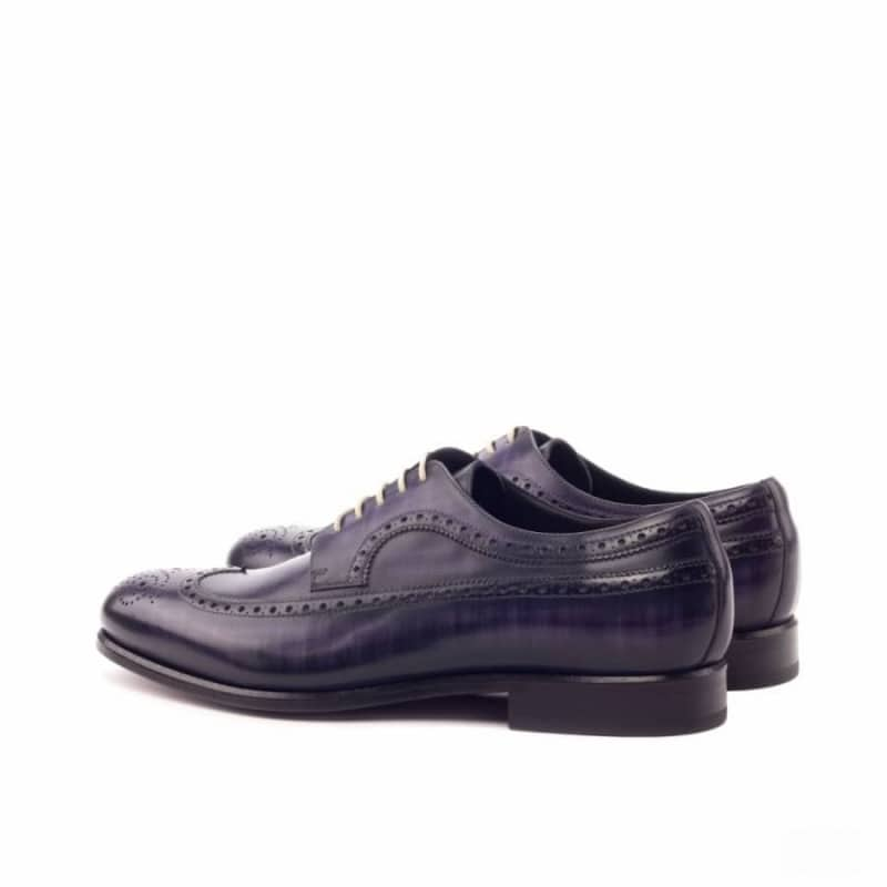Custom Made Long Wingtip Blucher in Italian Raw Crust Leather with a Purple Hand Patina