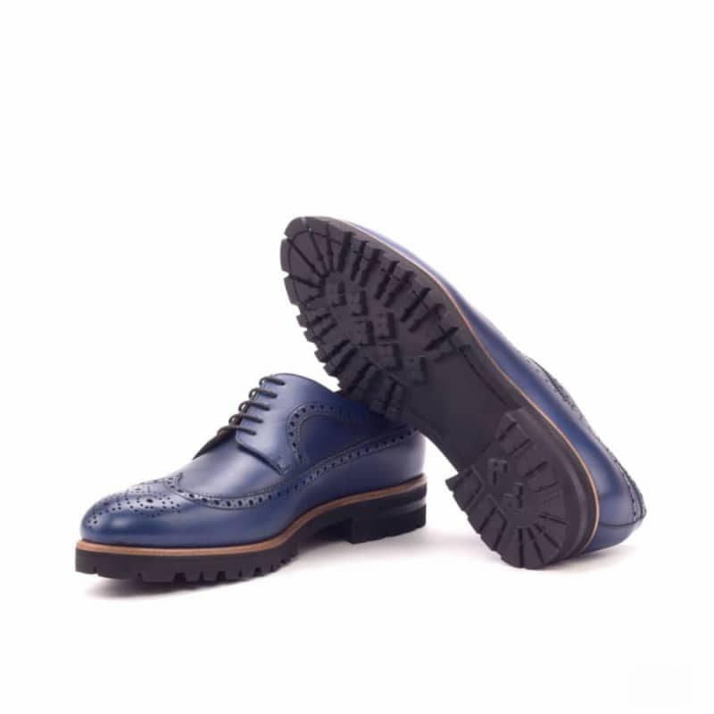 Custom Made Long Wingtip Blucher in Navy Blue Painted Calf Leather