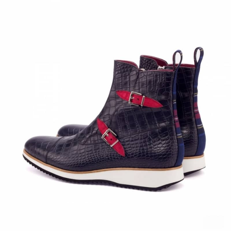 Custom Made Octavian Boot in Black Croco with Tartan and Red Kid Suede
