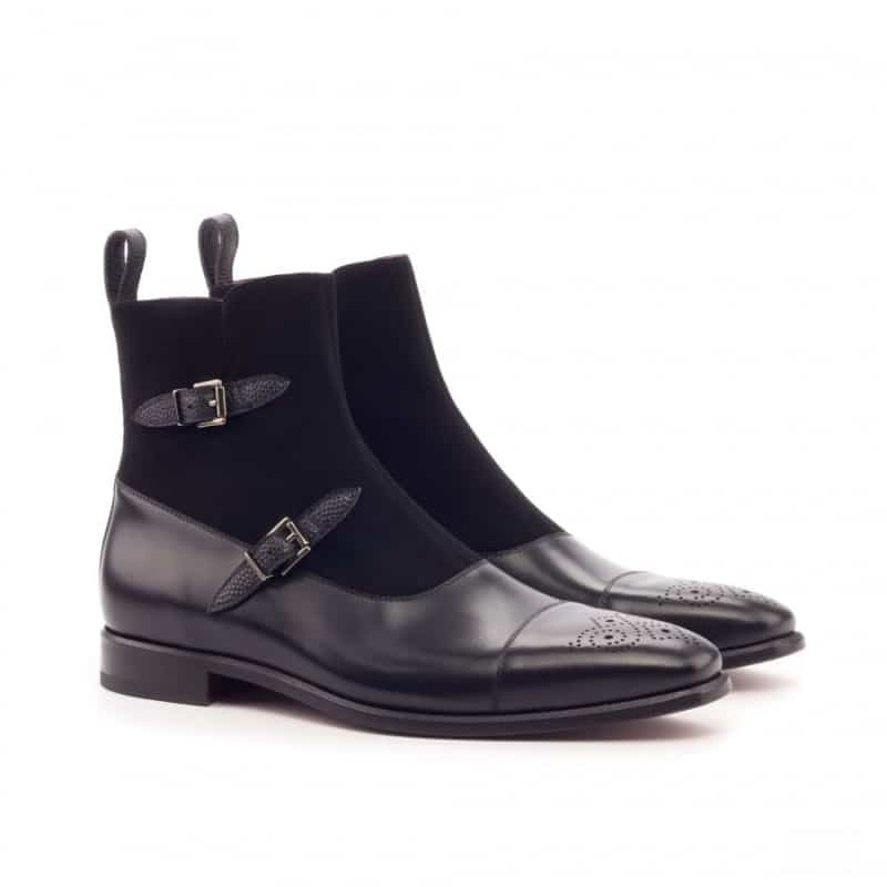 Custom Made Octavian Boot in Black Painted Calf, Pebble Grain and Kid Suede