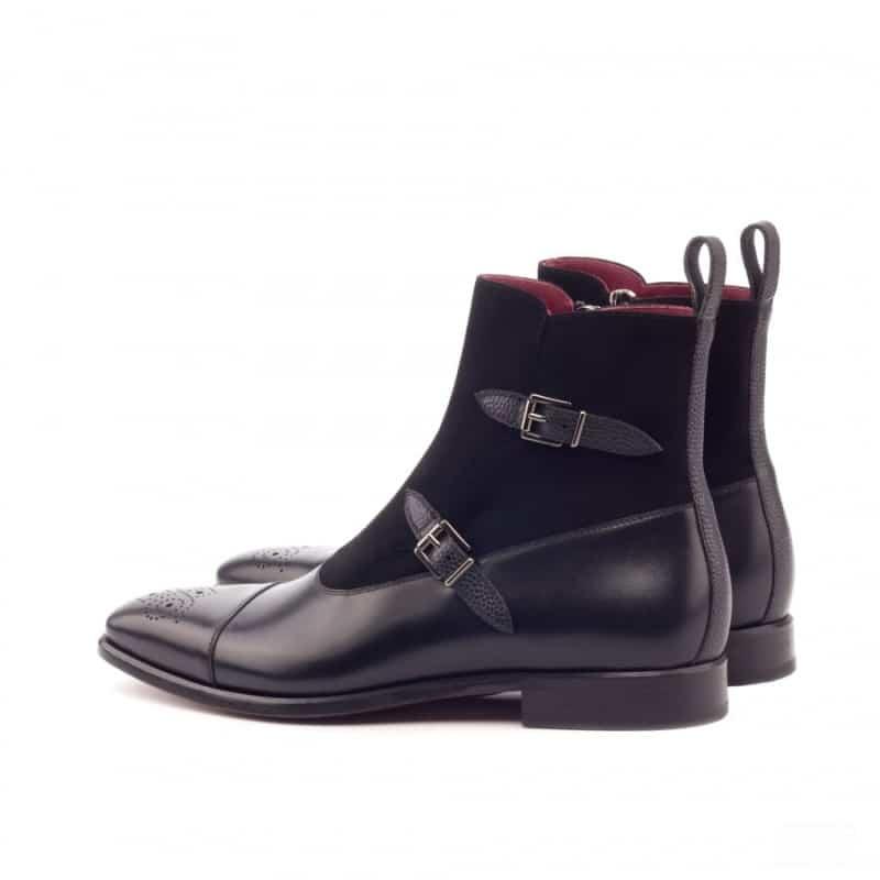 Custom Made Octavian Boot in Black Painted Calf, Pebble Grain and Kid Suede