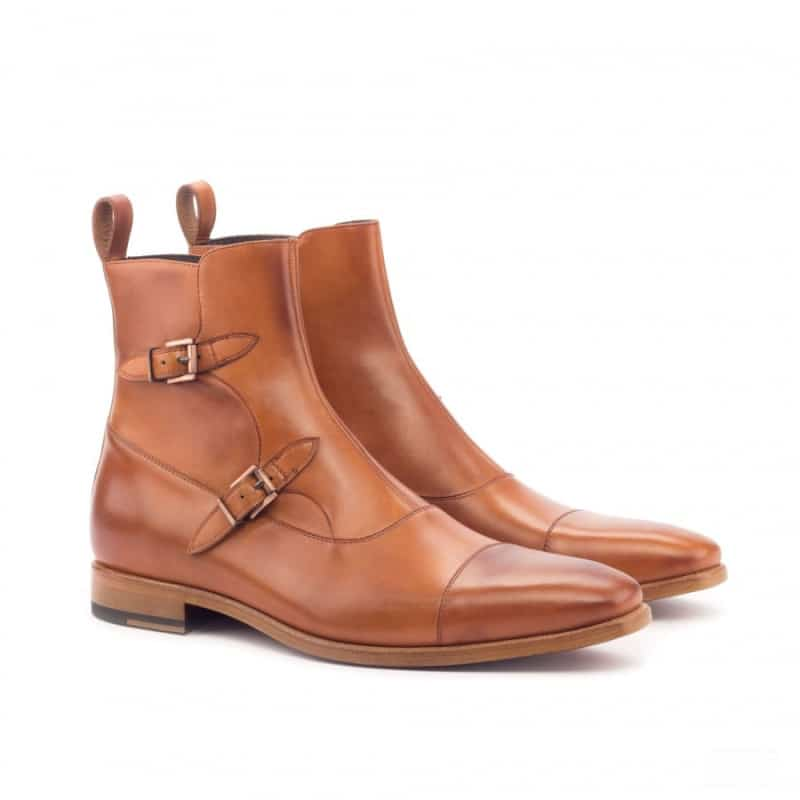 Custom Made Octavian Boot in Cognac Painted Calf Leather