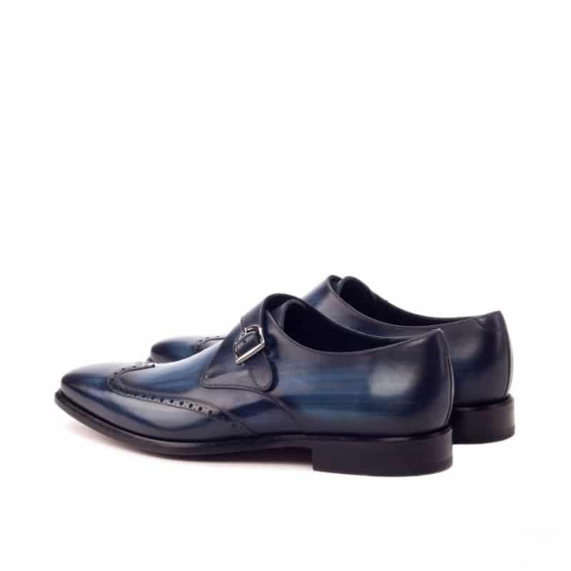 Custom Made Single Monks in Raw Crust Italian Calf Leather with a Denim Blue Hand Patina