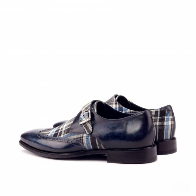 Custom Made Single Monks in Raw Crust Italian Calf Leather with a Denim Blue Hand Patina and Plaid